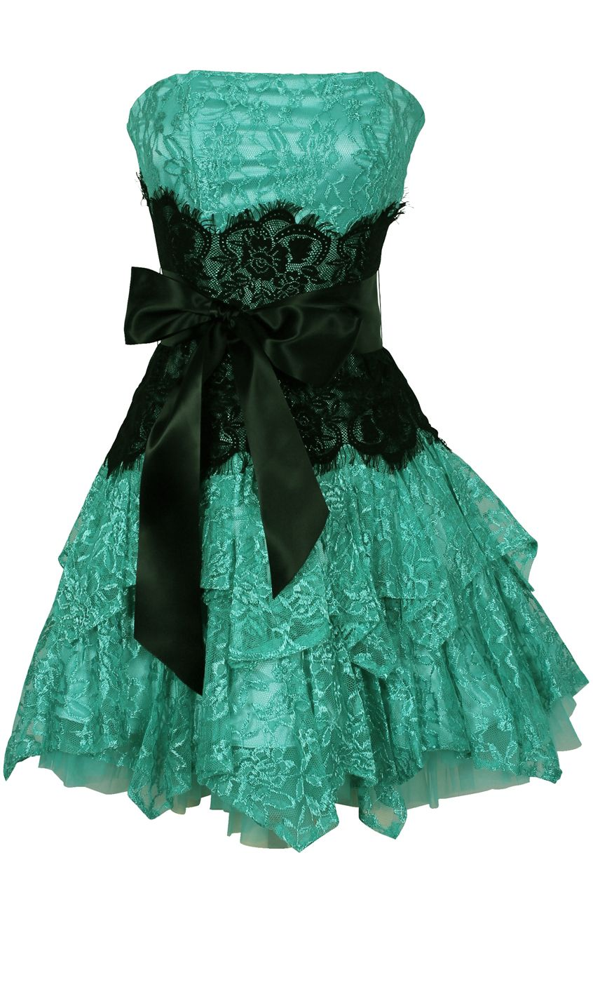 Strapless Bustier Contrast Lace and Crinoline Ruffle Prom Mini Dress ...