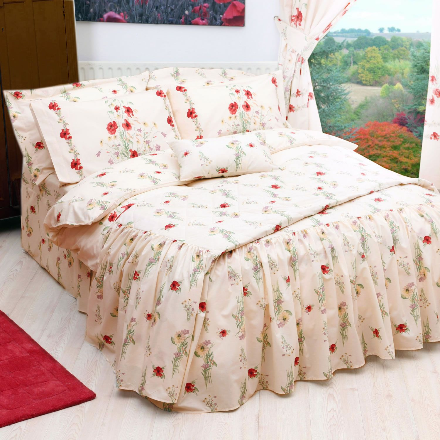 Belledorm country diary poppy fitted valance sheet next