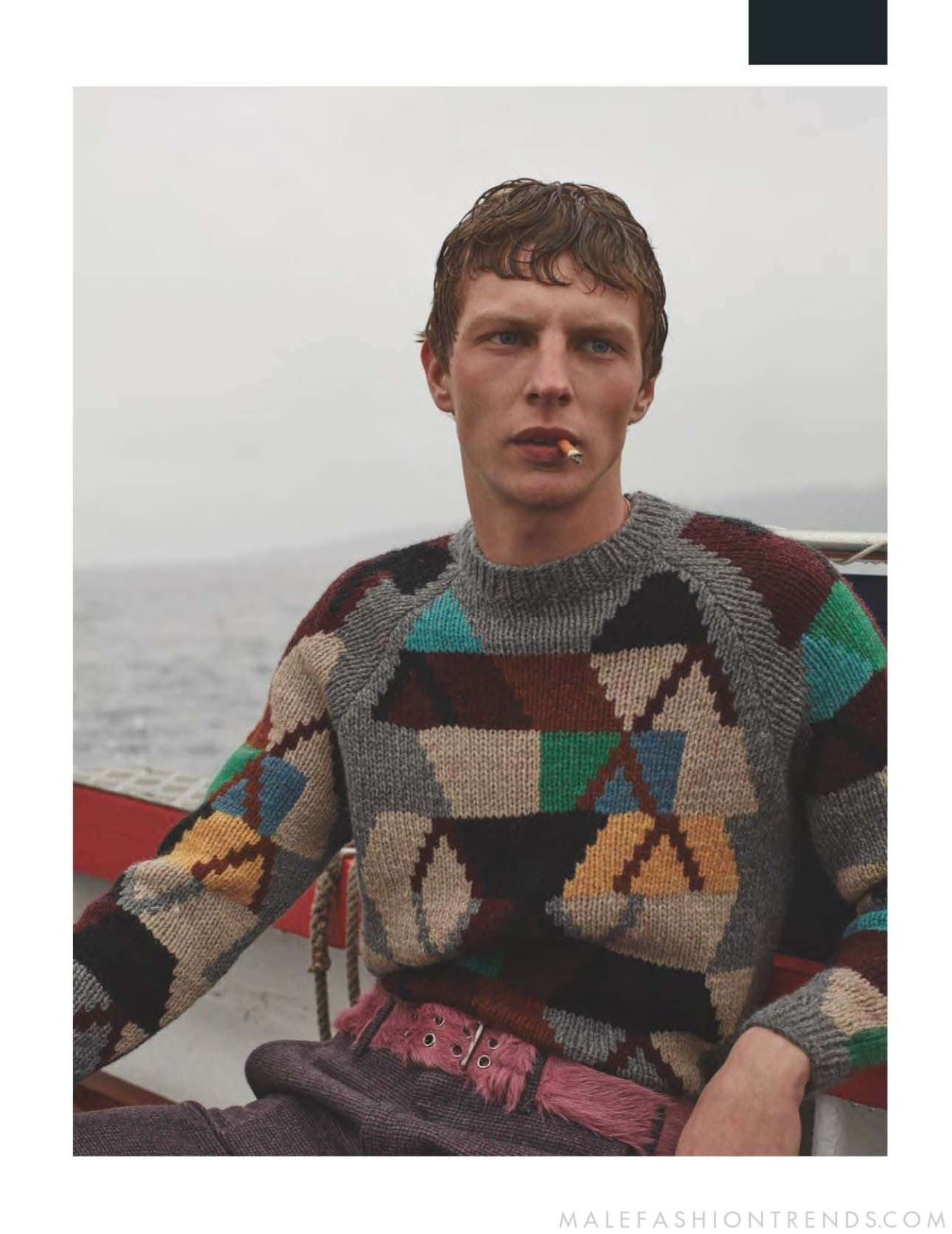 Pattern knit jumper sweater | Grey geometric | Multicoloured | Belt boat | No smoking please.