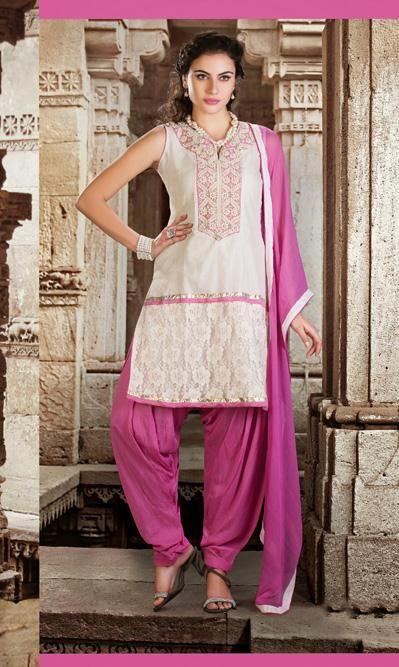 449855afcaf53 USD 109.12 Off White Silk Punjabi Salwar Suit 30569 | Suits n ...