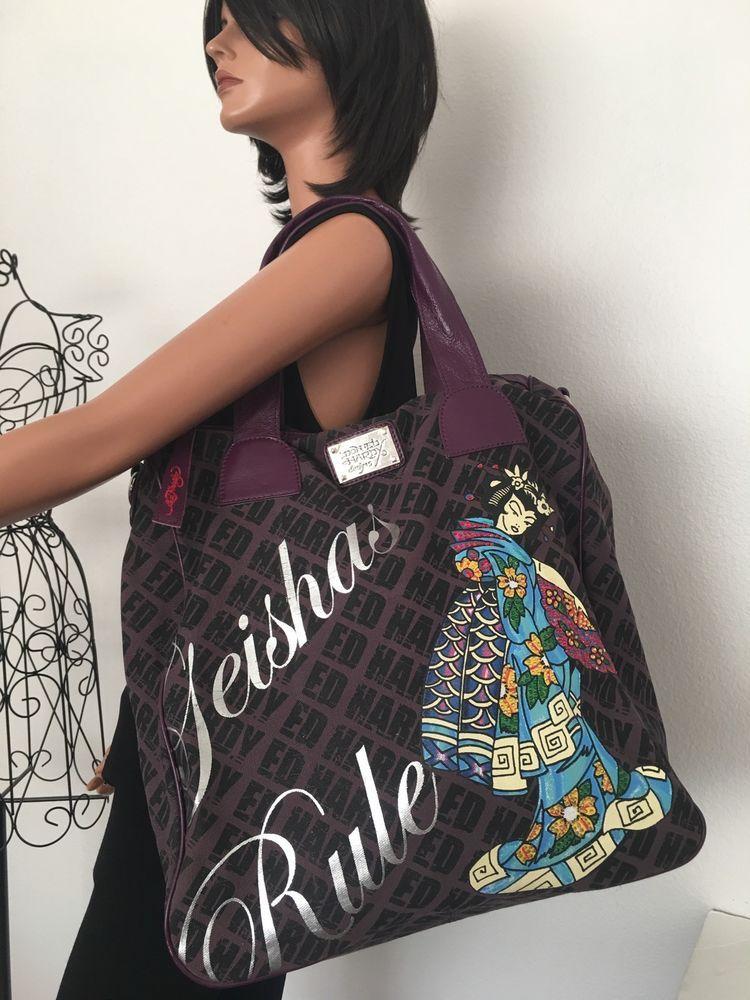 Don Ed Hardy Designs Bag Geisha Rule Designer Fashion Large Anese Hip Purple Ebay