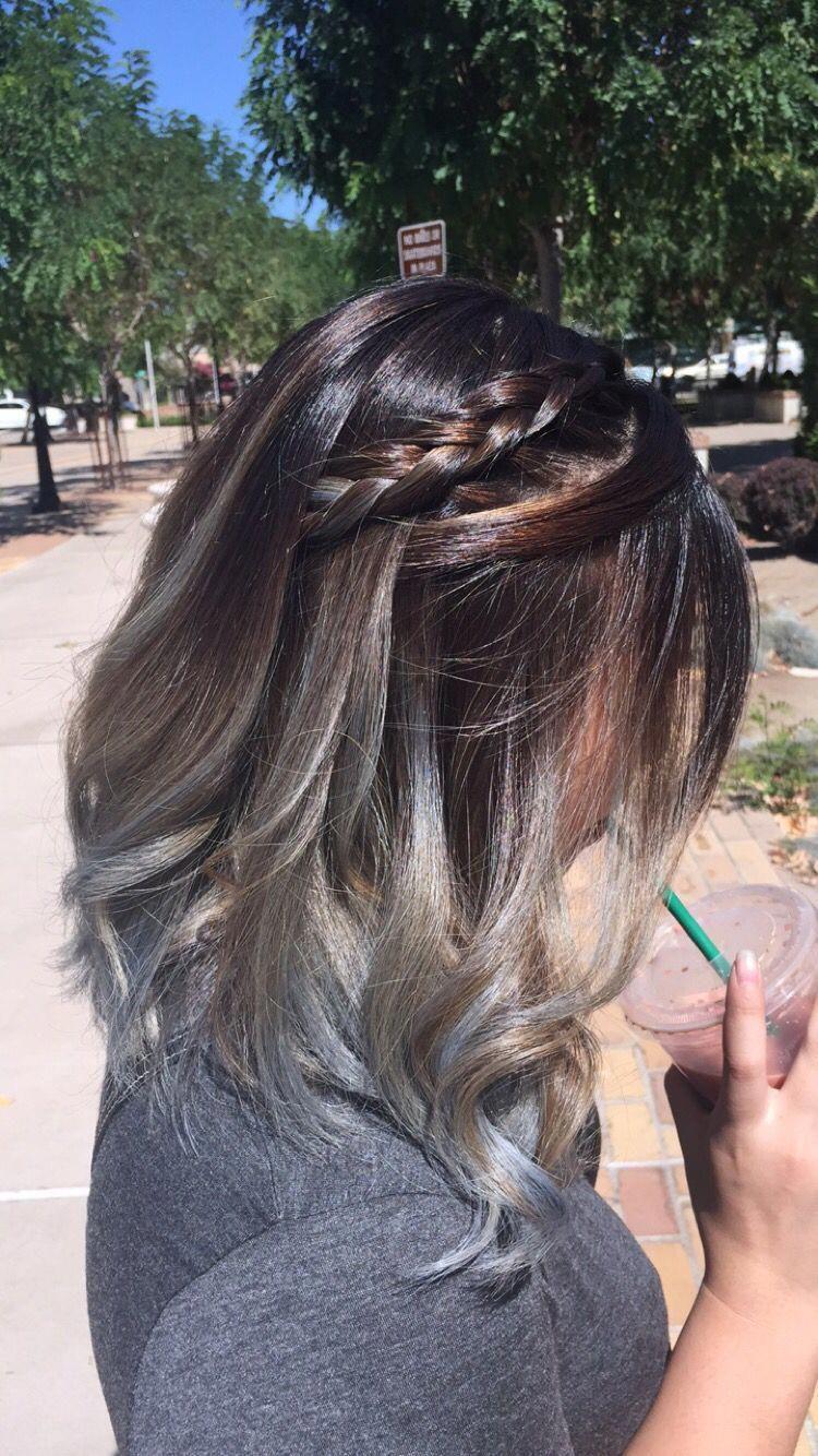 Long Bob Ash Grey Balayage Ombre Ombrebob Baylage Hair Gray Balayage Ash Hair Color