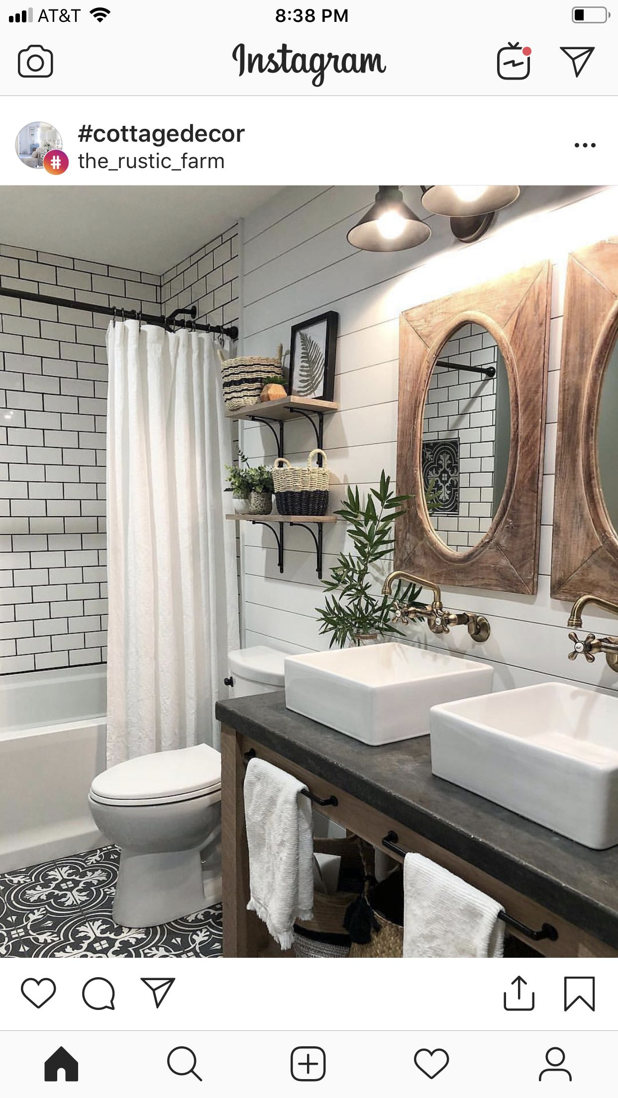 Cream Shiplap Walls White Subway Tile With Dark Grout As Tub Walls Faucet Sticking Out Of Wall Tiny Bathrooms Bathrooms Remodel Small Farmhouse Bathroom