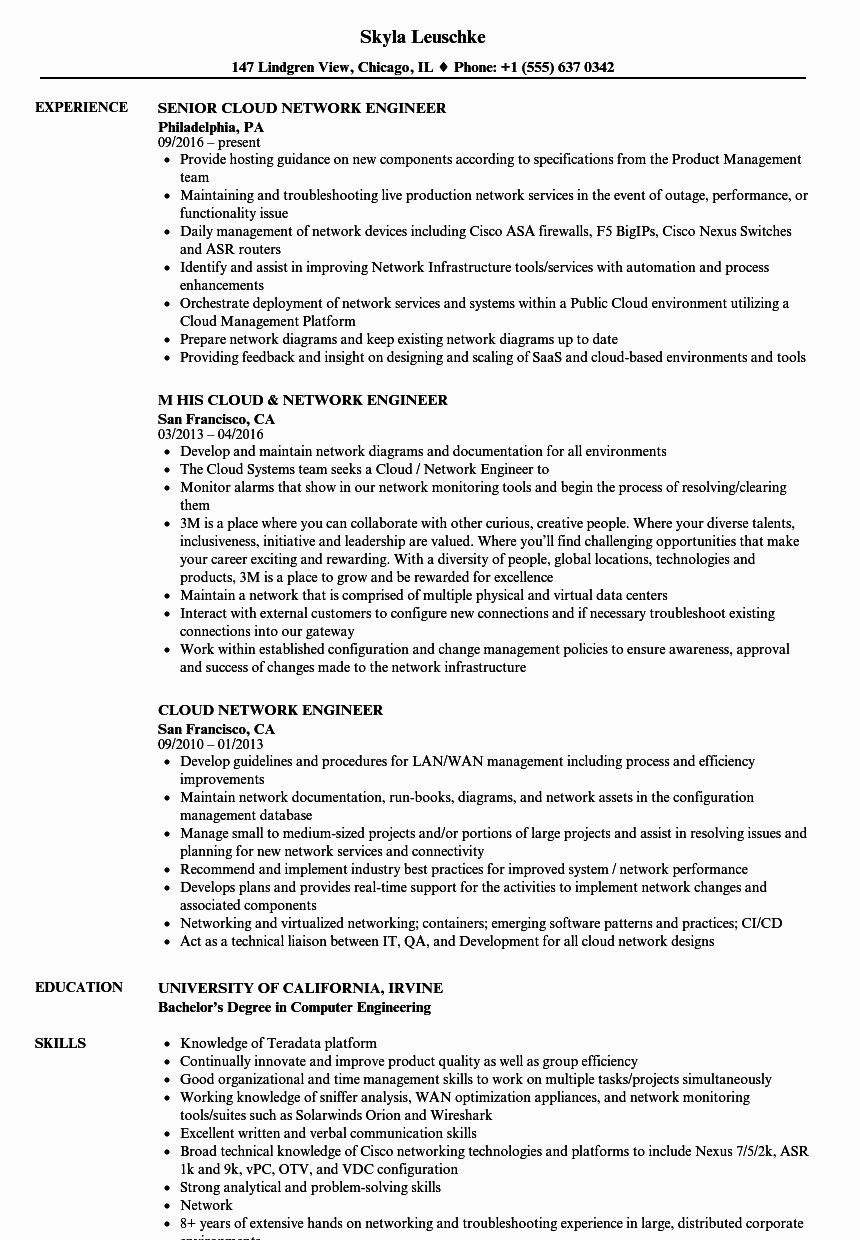 Network Engineer Resume Example Lovely Cloud Network