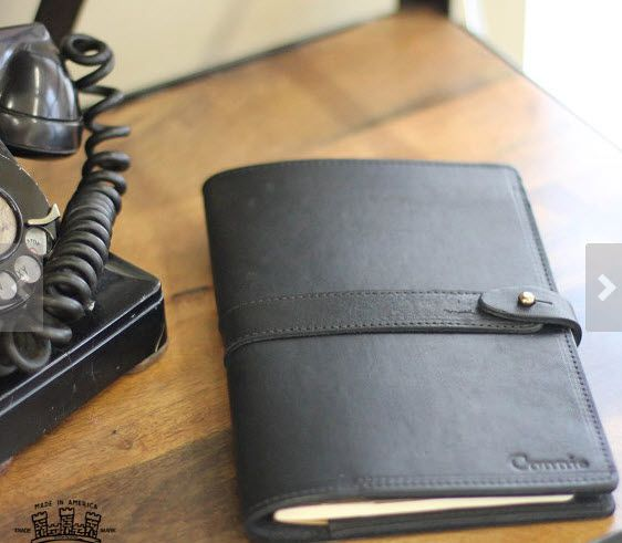 PERSONALIZED Black Fine Leather Journal Padfolio Notebook for - leather resume portfolio