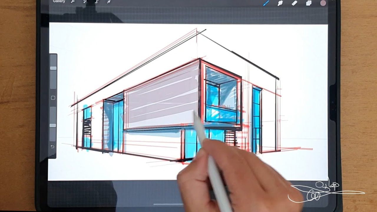 2 Point Perspective Procreate منظور معماري بنقطتين تلاشي Design Urban Design Architecture