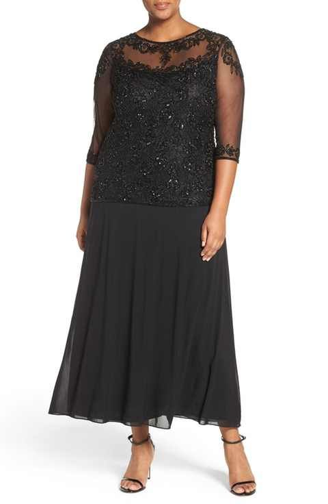 Pisarro Nights Beaded Mock Two Piece Gown Plus Size Dress For Me