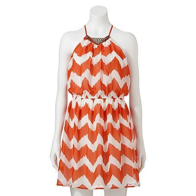 Lily Rose Chevron Halter Dress - Juniors
