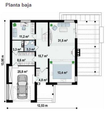 Plano de casa de 12 x 14 m casas pinterest planos de Planos de casas de 200m2