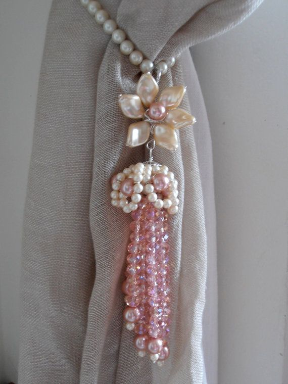 Pair Of Pink Decorative Curtain Tiebacks Faux Pearls Pink Glass
