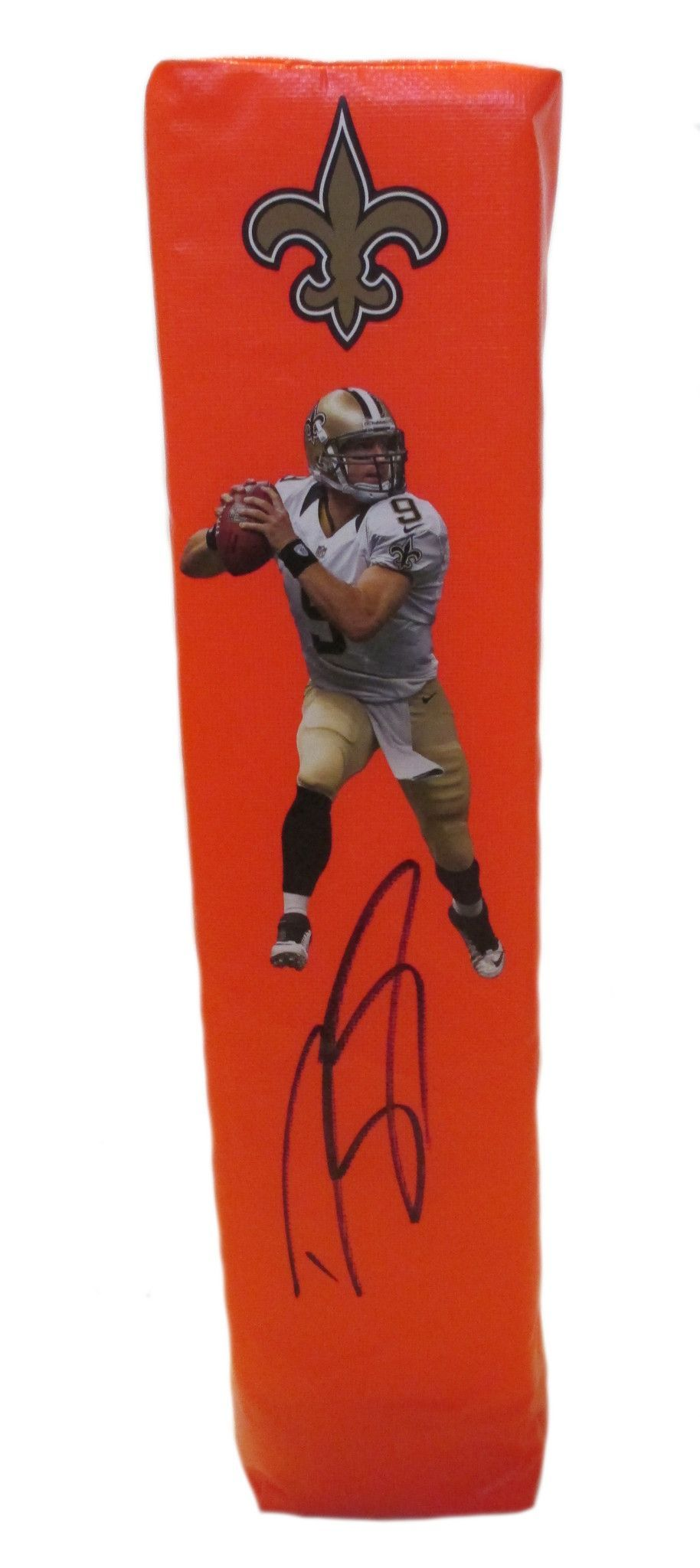Drew Brees signed New Orleans Saints full size football touchdown end zone pylon w/ proof photo.  Proof photo of Drew signing will be included with your purchase along with a COA issued from Southwestconnection-Memorabilia, guaranteeing the item to pass authentication services from PSA/DNA or JSA. Free USPS shipping. www.AutographedwithProof.com is your one stop for autographed collectibles from New Orleans sports teams. Check back with us often, as we are always obtaining new items.