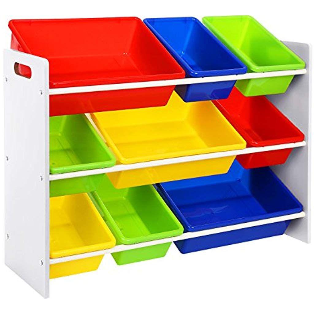 Cassapanca Plastica Per Giocattoli.Songmics Scaffale Porta Giocattoli Per Bambini Organizzatore Con 9