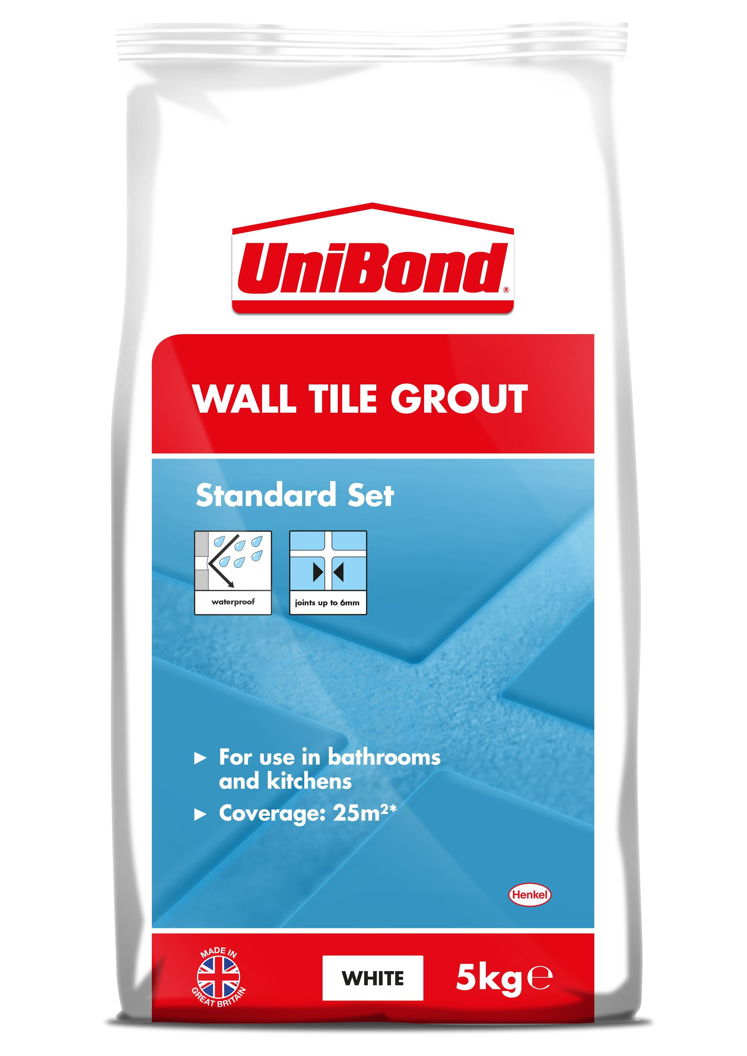 Unibond White Wall Tile Grout (W)5kg | White wall tiles, Tile grout ...