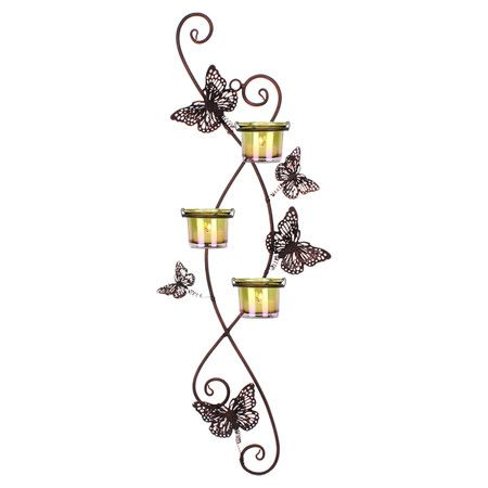 Bring a flickering glow to your walls with this lovely sconce, featuring dancing butterflies on springs and colored votive holders.