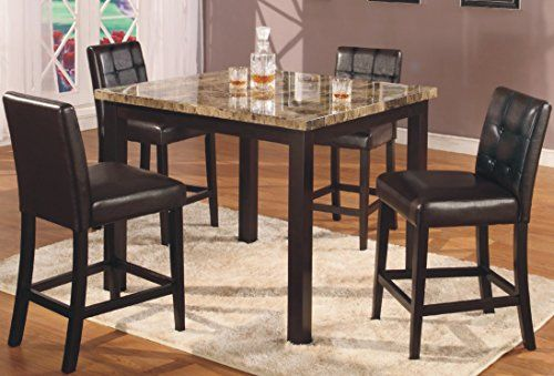 GTU Furniture 5Pc Counter Height Table With Faux Marble Top And 4 High Chairs  Dining Set