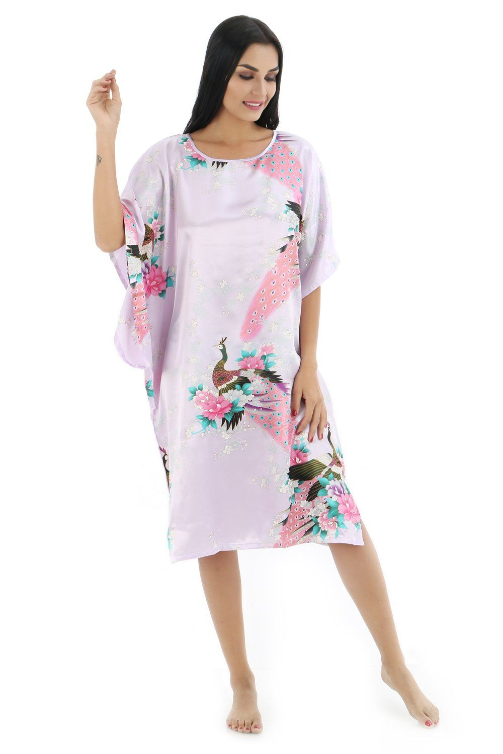 SexyTown Women s Batwing Sleeve Pullover Nightgown Satin Plus Size Pajamas  (Style2-Peacock Light Purple) e395d5f23