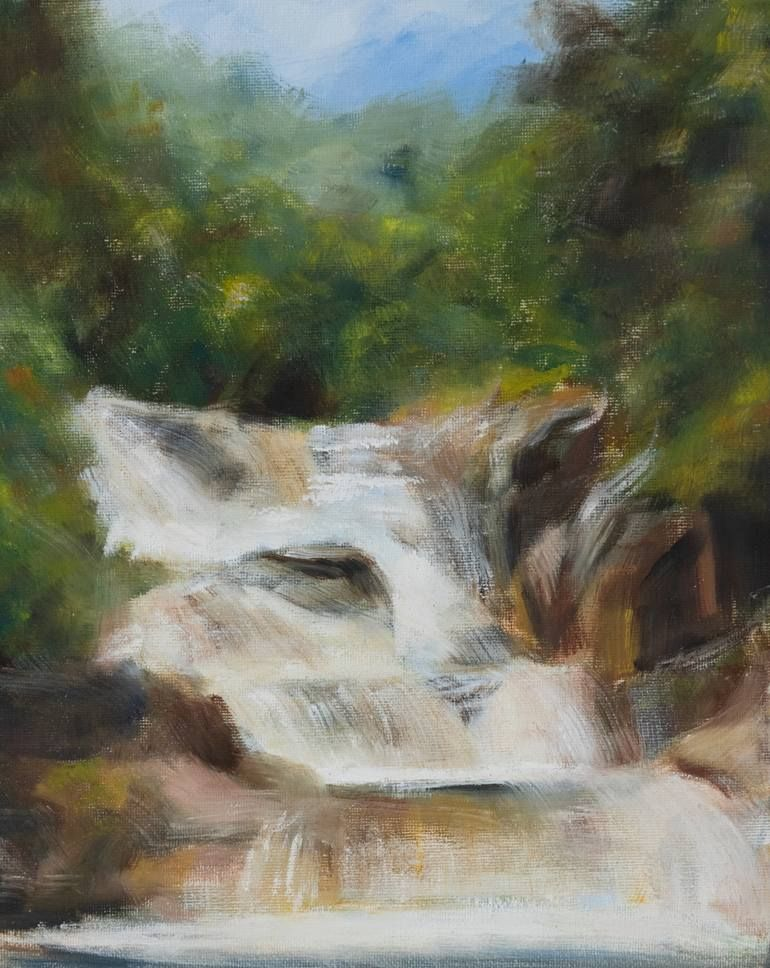 Original Landscape Painting By Alya Frisson Fine Art Art On Canvas Original Oil Painting Waterfall A Study From Vietnam In 2020 Waterfall Paintings Painting Landscape Paintings