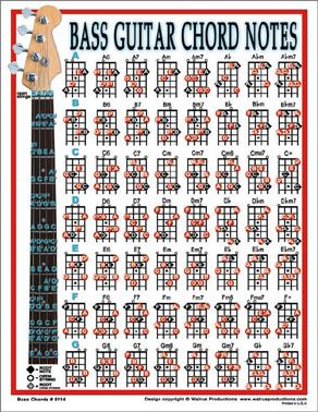 Bass guitar chords chord notes notebook size laminated chart for players also charts poster includes the seven basic rh pinterest