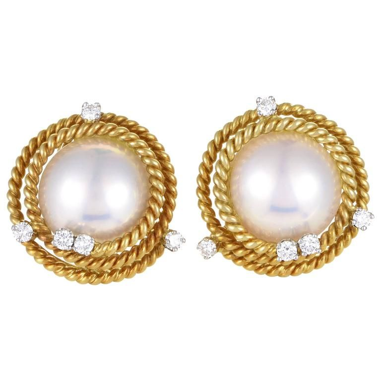 6f0e9cfcb Tiffany and Co. Schlumberger Pearl Diamond Gold Earrings in 2019 ...