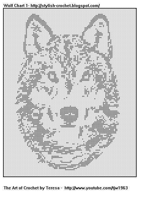 Free Filet Crochet Charts and Patterns: Filet Crochet Wolf Chart 1 ...