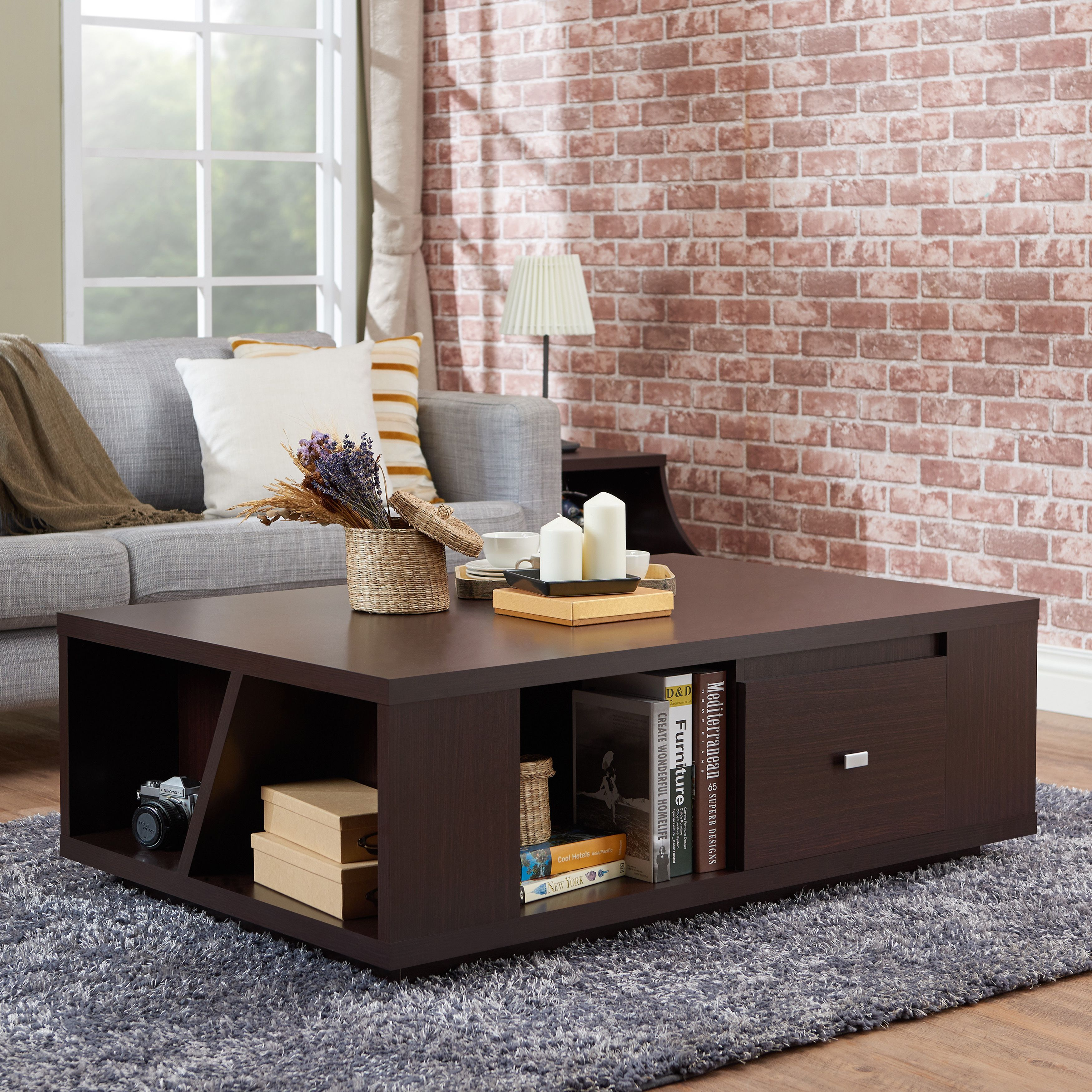 Furniture Of America Cees Contemporary Walnut 2 Drawer Coffee Table Furniture Sofa End Tables Living Furniture