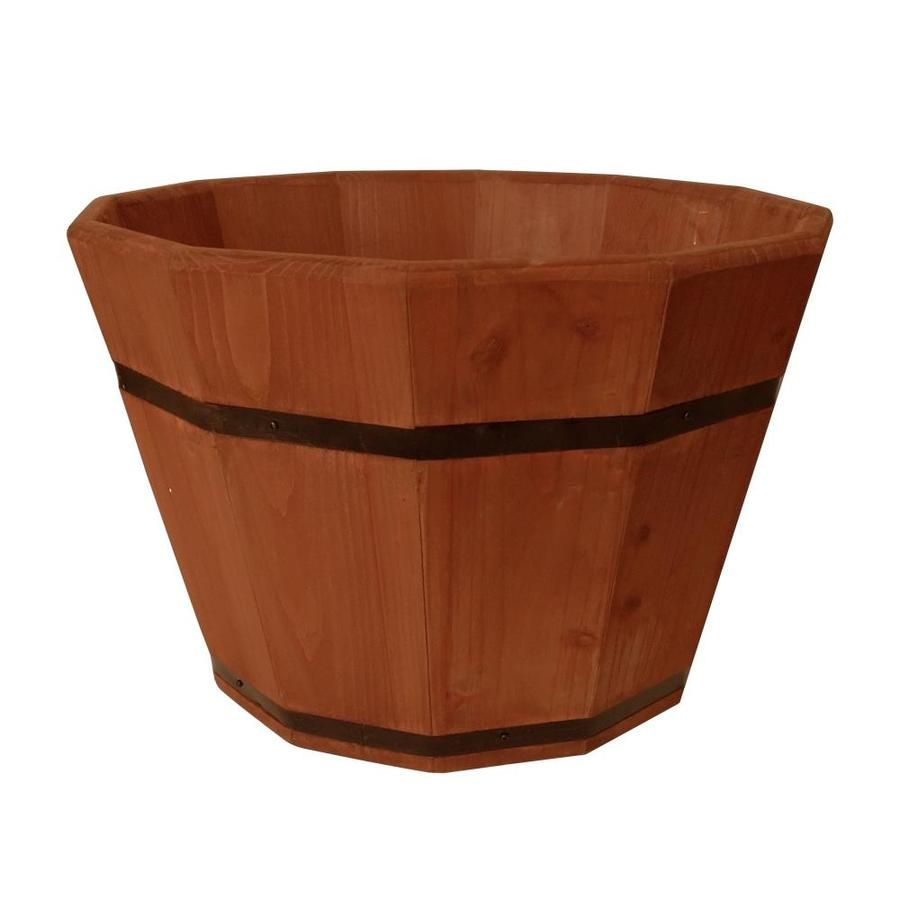 Style Selections 20 In W X 12 8 In H Cedar Wood Barrel Tab8035 In 2020 Wood Barrel Planters Barrel Planter Wood