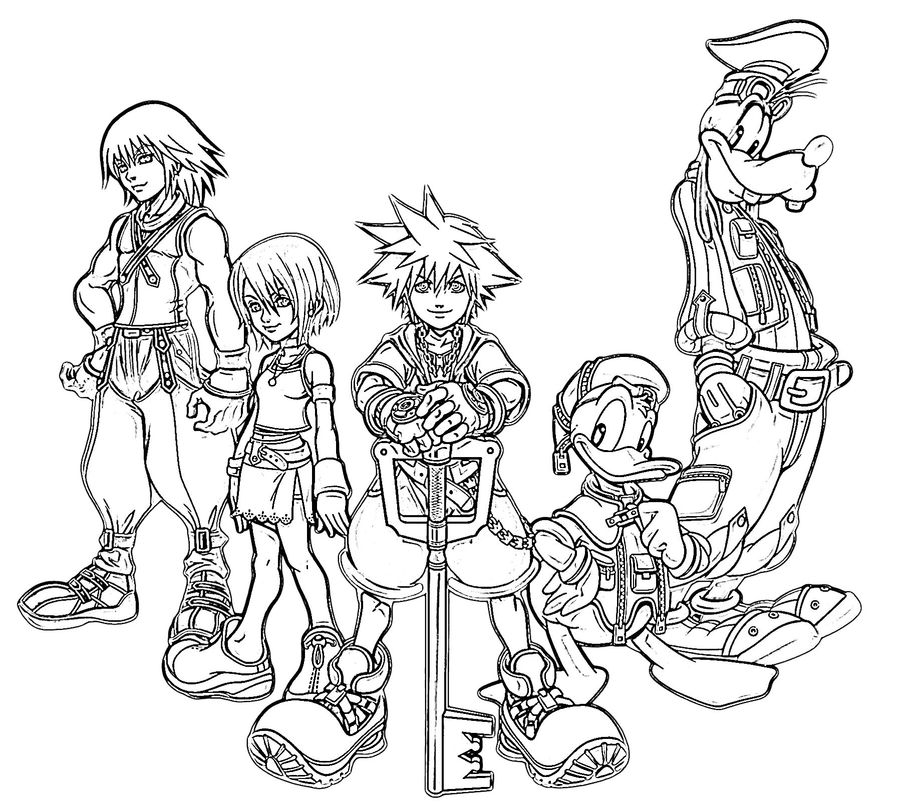 Kingdom hearts team coloring pages pinterest free for Kingdom hearts printable coloring pages
