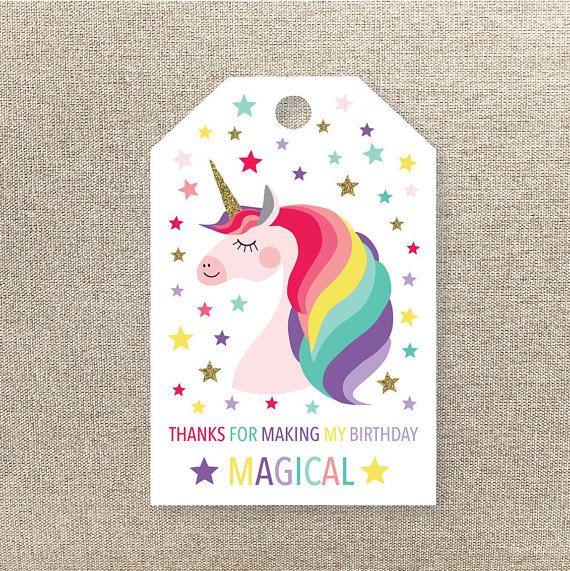 Unicorn Favor Tags - Unicorn Favour Tags - Printable