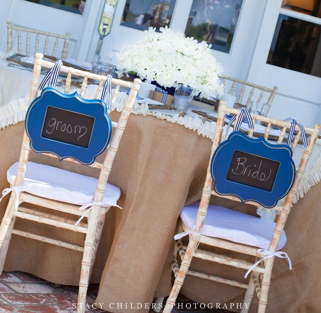 Cobalt Blue Wedding Chalkboard Chair Signs