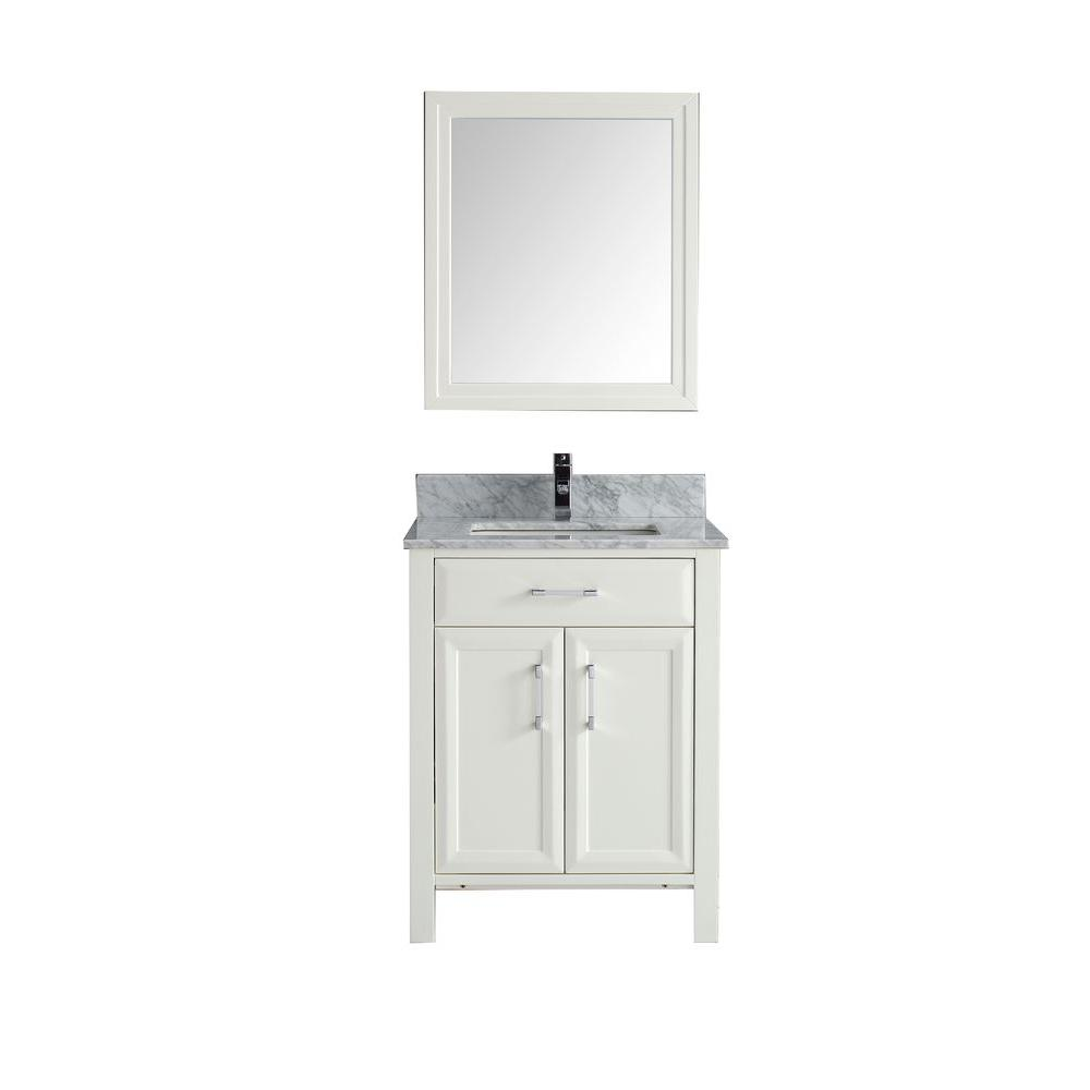 Studio Bathe Calais 28 In Vanity In White With Marble Vanity Top In Carrara And Mirror Calais 28 Wh Carrera The Home De Marble Vanity Tops Vanity Top Vanity