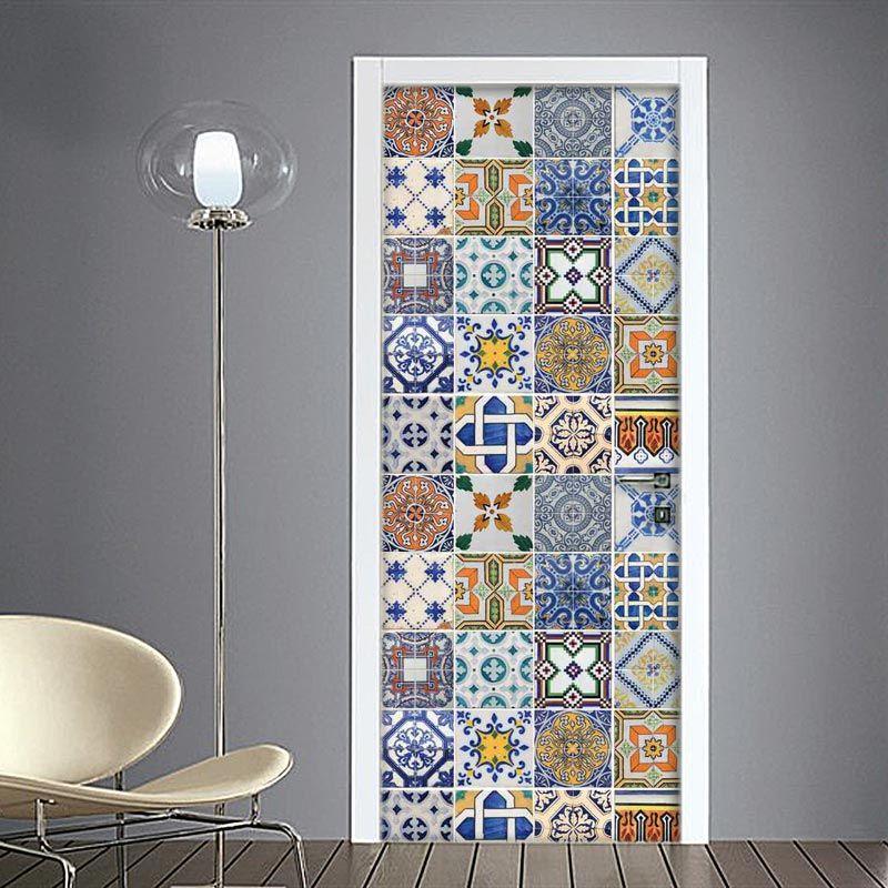 adesivo per porte mattonelle colorate asulejos porte