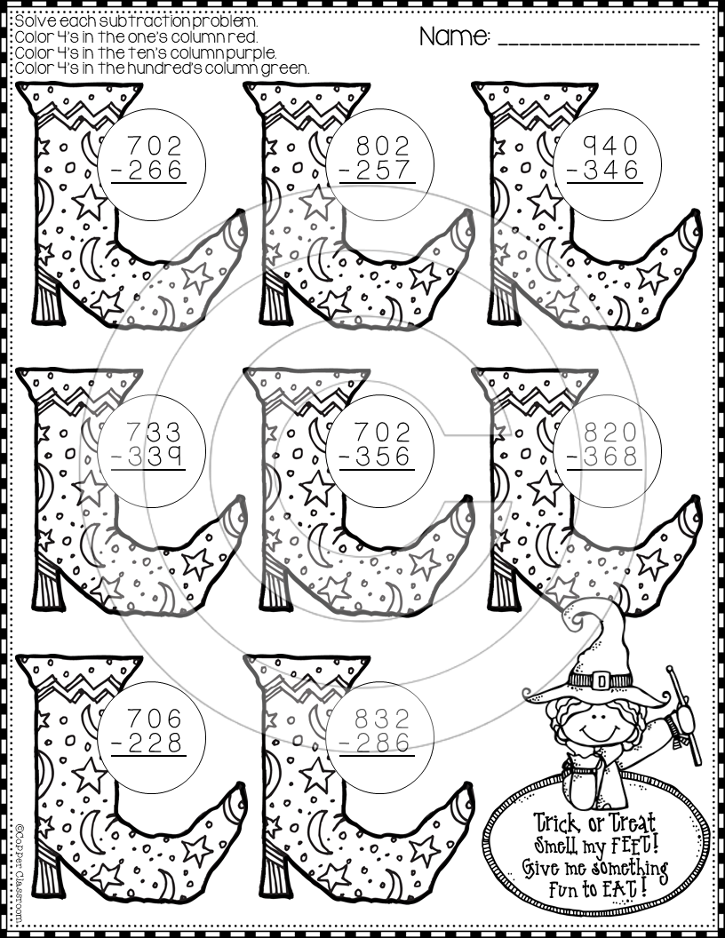 Halloween 3 Digit Subtraction With Regrouping Color By Code Printables In 2020 Subtraction Halloween Math Subtraction Practice [ 1056 x 816 Pixel ]