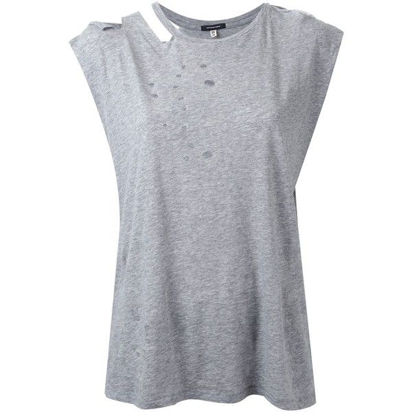 R13 Sleeveless Ripped Neck T-Shirt (735 NOK) ❤ liked on Polyvore featuring tops, t-shirts, shirts, tank tops, tees, grey, tee-shirt, gray shirt, grey t shirt and grey shirt