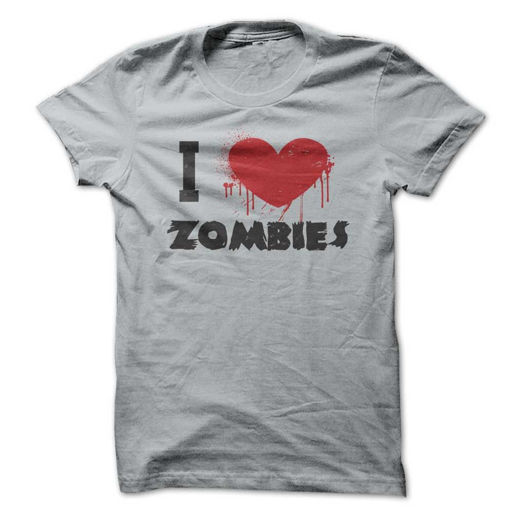 I love heart zombies t shirt for undead horror fans halloween
