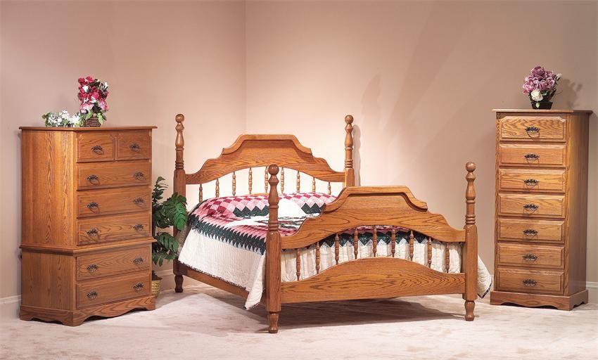 Amish Summit Oak Wood Bedroom Furniture Set - American Made Wood