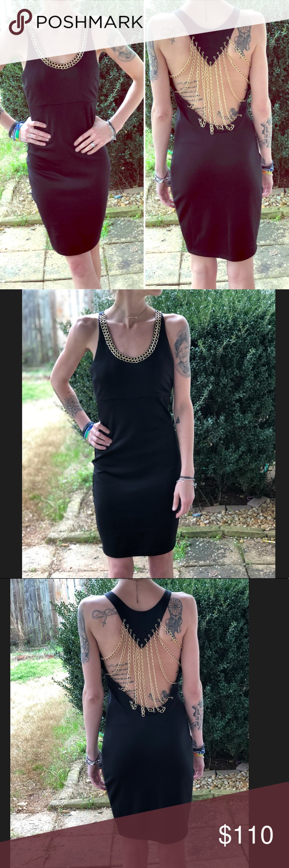 Sale Black Dress With Gold Accent Chains Nwot Absolutely Stunning Black Dress With Chains On The Back Of The Dress What S Clothes Design Fashion Clothes [ 1740 x 580 Pixel ]