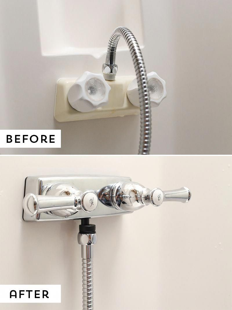 How To Replace An Rv Shower Faucet Camper Makeover Shower