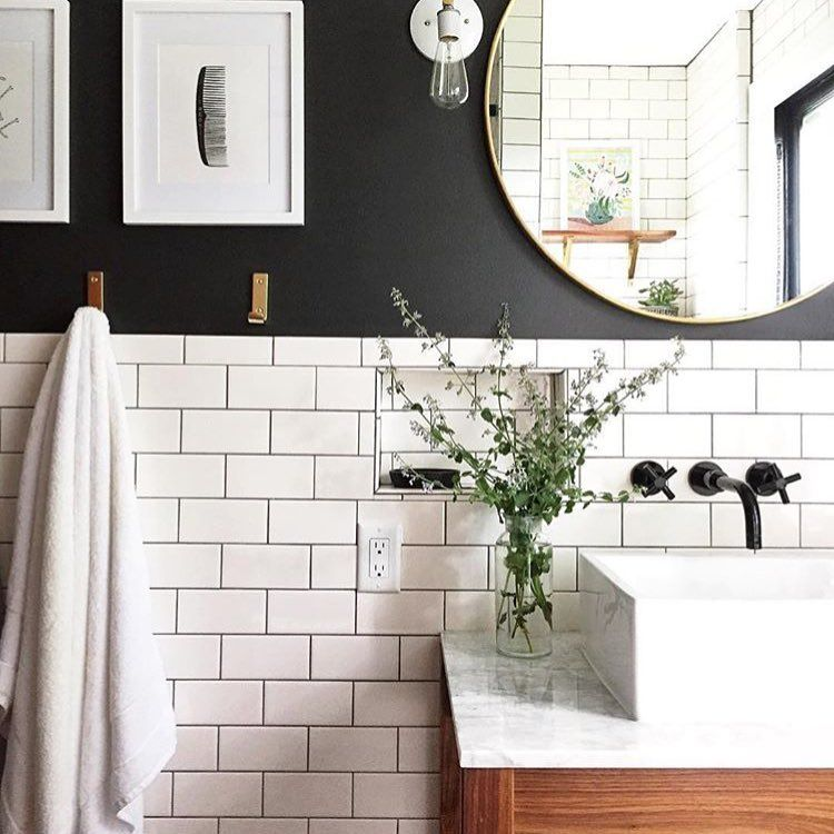 Gorgeous Bathroom With Black Walls And Subway Tile For A Modern Twist On A Classic Best Bathroom Lighting Classic Bathroom Bathroom Interior