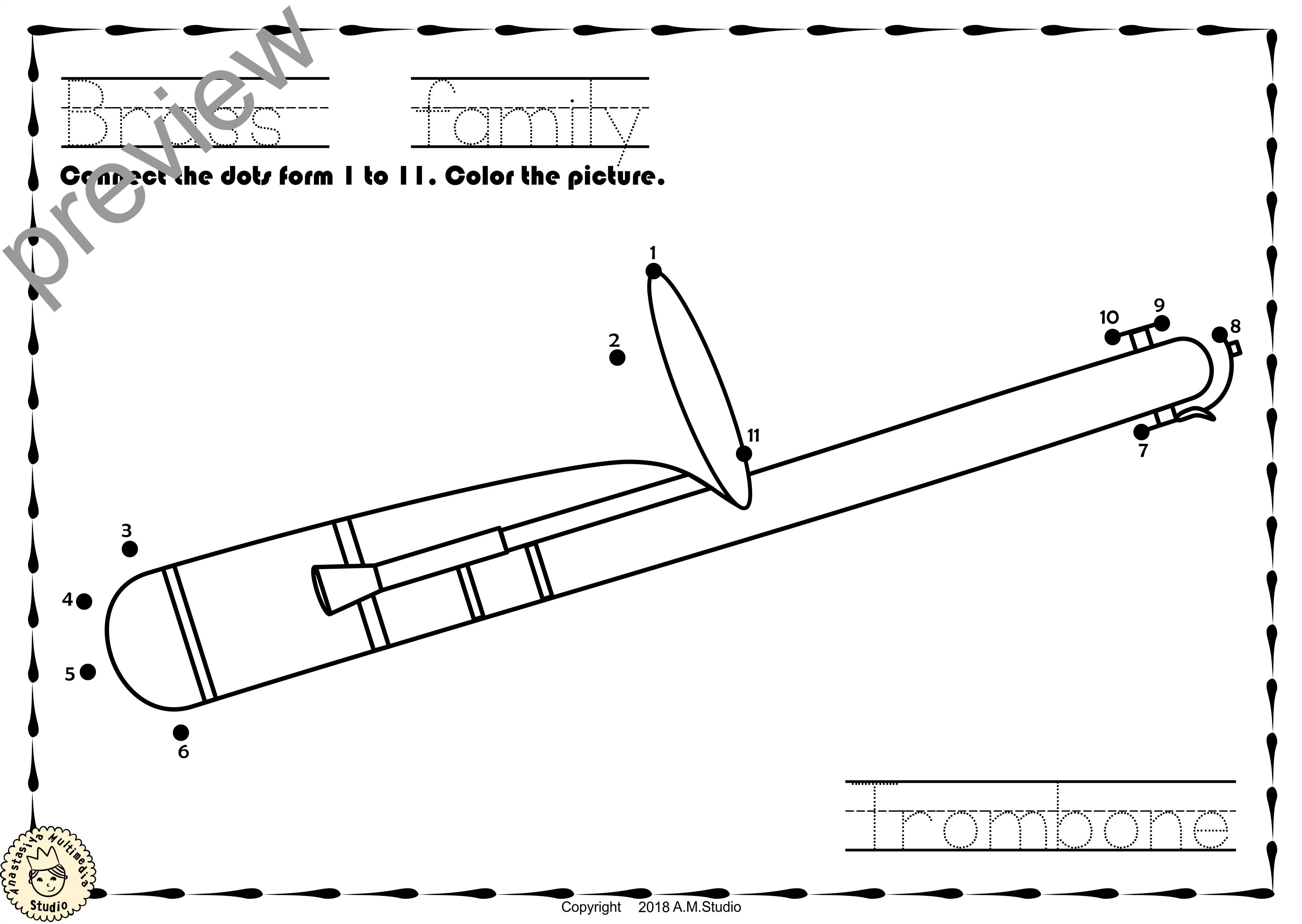 Brass Instruments Dot To Dot Worksheets Anastasiya