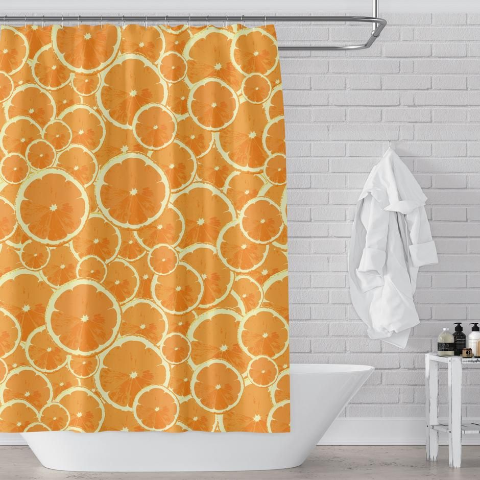 Oranges Citrus Mod Print Shower Curtain Pattern Of Orange Slices