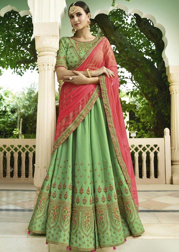 e7132a61f8 Indian Wedding Dresses Royal Look Green Embroidered Lehenga ...