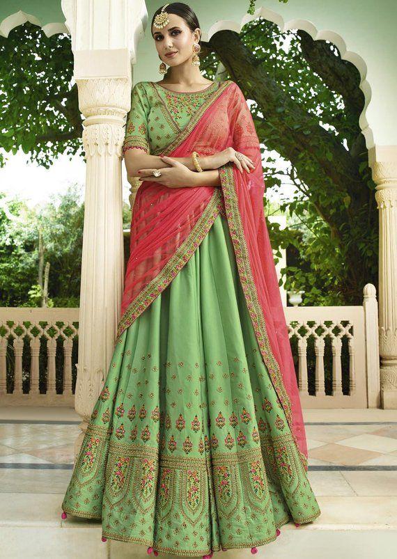 c5c54c5eea Indian Wedding Dresses Royal Look Green Embroidered Lehenga ...