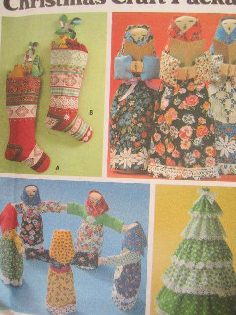 Christmas Doll Tree Stockings Vintage Butterick 5709 Craft Holiday ...
