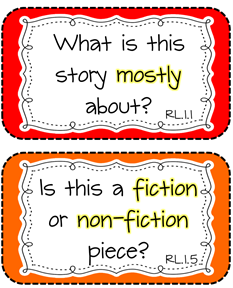 Free printable of questions to ask about what is being read... tied to first grade CCS