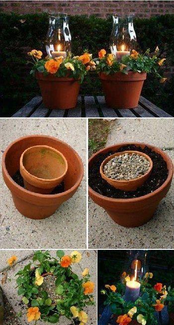 Einen Blumenbekranzter Blumentopf Kerzenhalter So Schon Und So Einfach Garten Garten Design Garten Deko Ideen