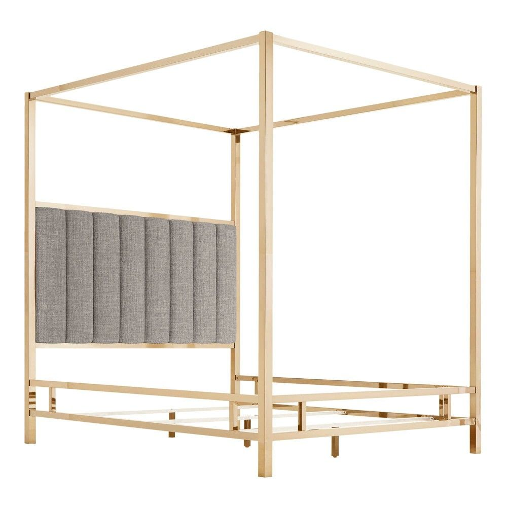Queen Manhattan Champagne Gold Canopy Bed With Vertical Channel Headboard Smoke Grey Inspire Q Metal Canopy Bed White Headboard Canopy Bed