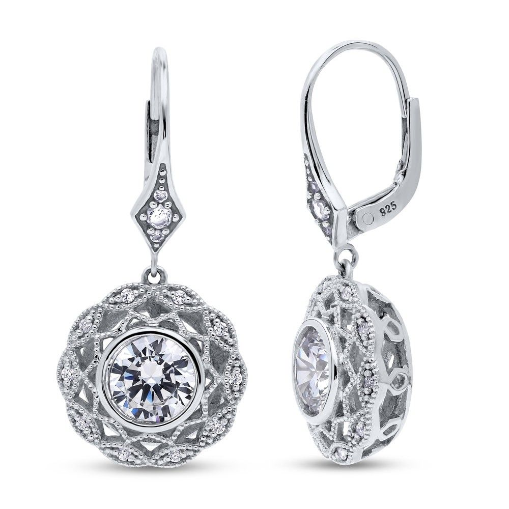 fcc76aa80 These milgrain woven halo dangle earrings are the epitome of glam and  extraordinary sparkle. Made of rhodium plated fine 925 sterling silver.