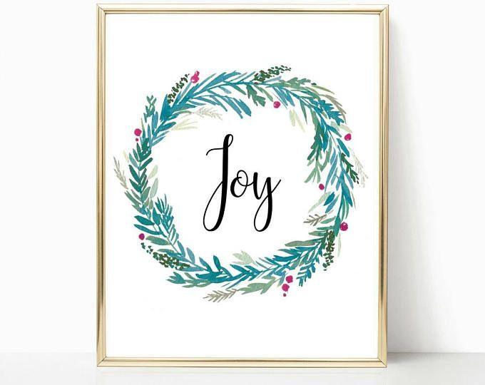 Wreath print, holiday decor, joy print, teen room decor, christmas decor, calligraphy print, pink christmas, christmas wall art, art print