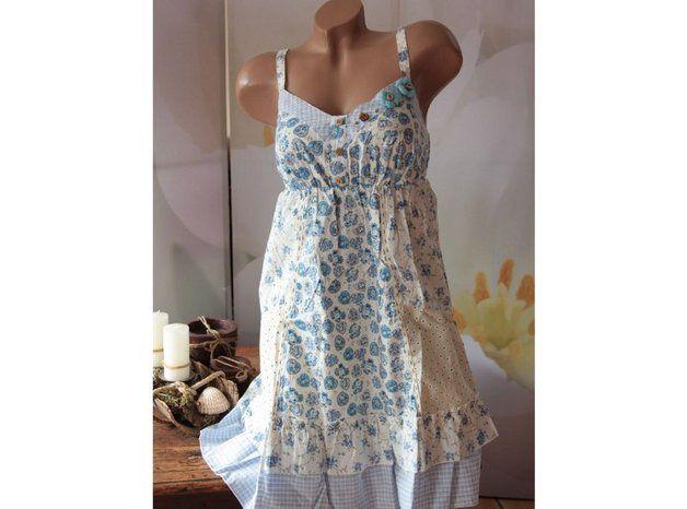 Trägerkleider - ♥ 36 Tunika PATCHWORKKLEID blau/weiss MIX - ein Designerstück von modebina bei DaWanda