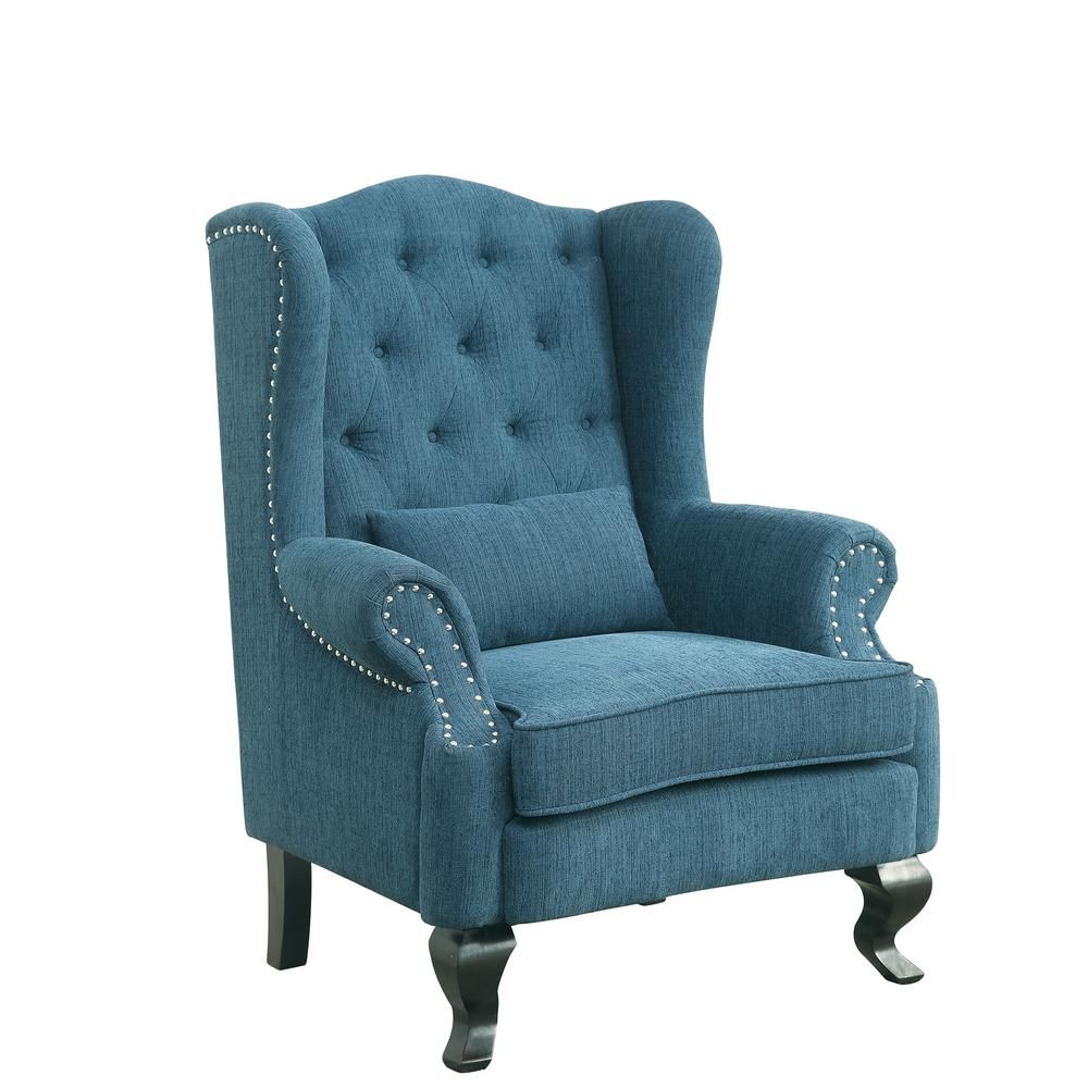 Willow Traditional Style Accent Chair In Dark Teal Finish Cm